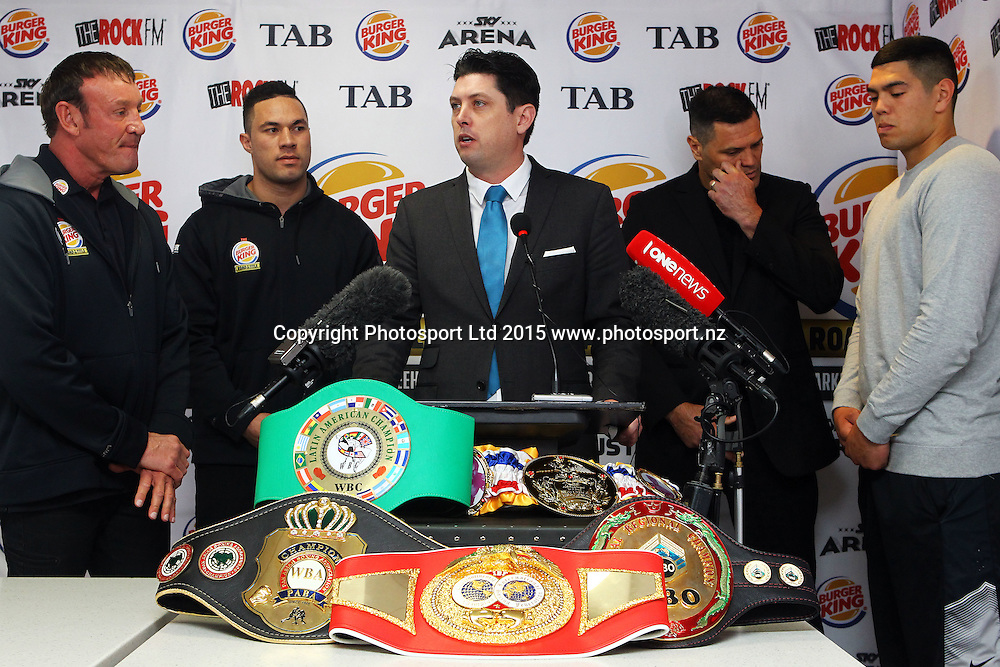 (L to R) Trainer Kevin Barry, Joseph Parker, MC Craig Stanaway, Kali Meehan and Willis Meehan, Burger King, Road to the Title press conference ahead of Thursdays boxing event. Burger king Lincoln Rd, Auckland. 13 October 2015. Copyright Photo: William Booth / www.photosport.nz
