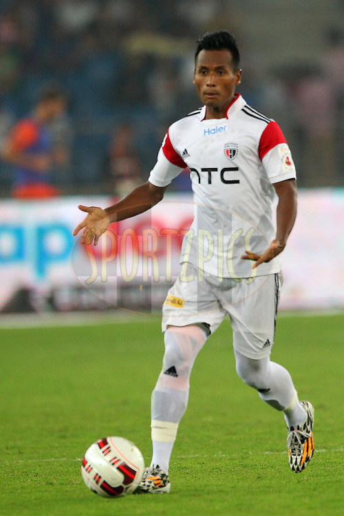 Zodingliana of NorthEast United FC during match 16 of the Hero Indian Super League between The Delhi Dynamos FC and NorthEast United FC held at the Jawaharlal Nehru Stadium, Delhi, India on the 29th October 2014.<br /> <br /> Photo by:  Ron Gaunt/ ISL/ SPORTZPICS