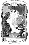 Saul and the Witch of Endor' 'Bible' I Samuel 28. Saul tries to communicate with the dead Samuel through the Witch of Endor. She brings Samuel 'out of the earth' (Necromancy) when Saul has promised to take no action against her as a witch. Copperplate engraving c1808.