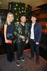 Left to right, SOFIA BLUNT, designer ETHAN K and JAMES BLUNT at a private dinner for designer Ethan K held at Blakes Hotel, 33 Roland Gardens, London on 26th October 2016.