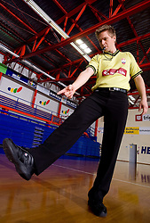 Referee Edo Javor shows basketball signs, on April 2, 2009, in Domzale, Slovenia. (Photo by Vid Ponikvar / Sportida)