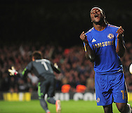 Picture by Alex Broadway/Focus Images Ltd +44 7905 628183.02/05/2013.Victor Moses of Chelsea celebrates scoring his side's second goal against FC Basel during the UEFA Europa League match at Stamford Bridge, London.