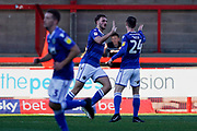 Goal, Harry Smith of Macclesfield Town scores, Crawley Town 0-1 Macclesfield Town during the EFL Sky Bet League 2 match between Crawley Town and Macclesfield Town at The People's Pension Stadium, Crawley, England on 23 February 2019.
