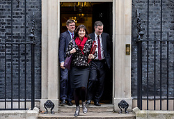 © Licensed to London News Pictures. 12/02/2019. London, UK. Secretary of State for Business, Energy and Industrial Strategy Greg Clark (L), Minister of State at Department for Business, Energy and Industrial Strategy Claire Perry (C) and Justice Secretary David Gauke (R) leave 10 Downing Street after the weekly meeting of the Cabinet. Photo credit: Rob Pinney/LNP
