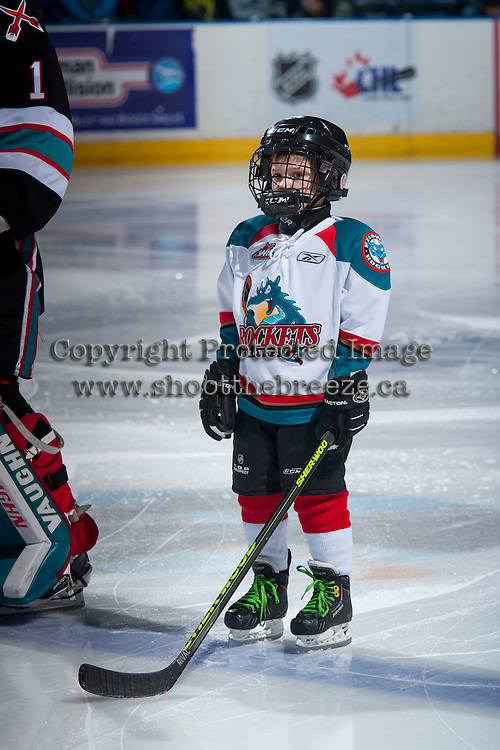 KELOWNA, CANADA - DECEMBER 5: the Pepsi Save On Foods player of the game lines up at the Kelowna Rockets against the Portland Winterhawks on December 5, 2015 at Prospera Place in Kelowna, British Columbia, Canada.  (Photo by Marissa Baecker/Shoot the Breeze)  *** Local Caption *** Pepsi Player;