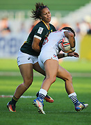 DUBAI, UNITED ARAB EMIRATES - Thursdays 30 November 2017, Mathrin Simmers of South Africa tries to stop Nicole Heavirland of the USA during HSBC Emirates Airline Dubai Rugby Sevens match between South Africa and the USA at The Sevens Stadium in Dubai.<br /> Photo by Roger Sedres/ImageSA
