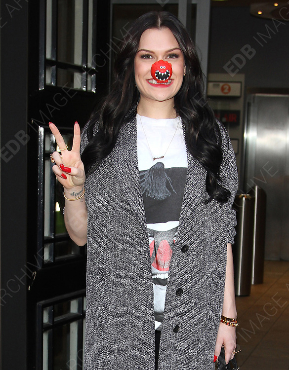 31.JANUARY.2013. LONDON<br /> <br /> JESSIE J LEAVING THE STUDIOS OF BBC RADIO 2 WEARING A RED NOSE, AS PART OF RED NOSE DAY.<br /> <br /> BYLINE: EDBIMAGEARCHIVE.CO.UK<br /> <br /> *THIS IMAGE IS STRICTLY FOR UK NEWSPAPERS AND MAGAZINES ONLY*<br /> *FOR WORLD WIDE SALES AND WEB USE PLEASE CONTACT EDBIMAGEARCHIVE - 0208 954 5968*