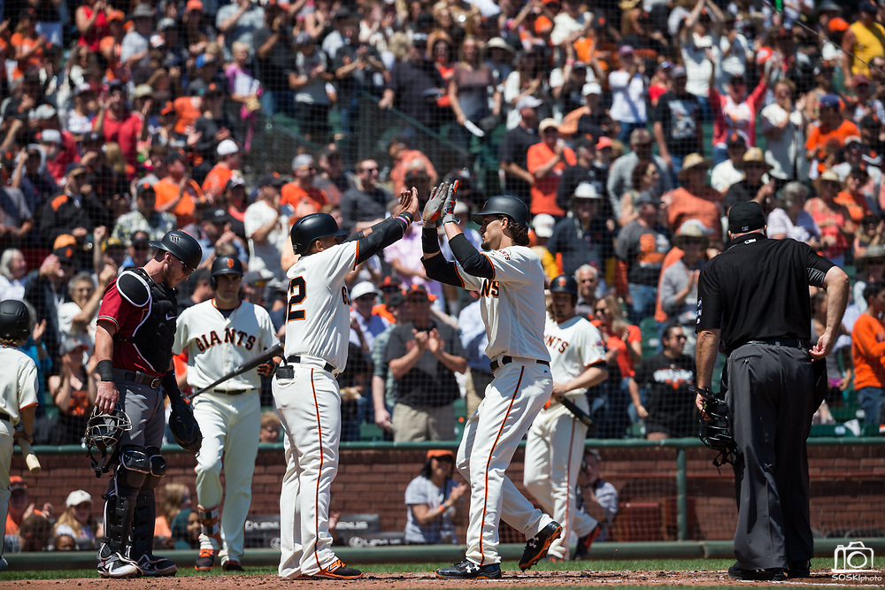 San Francisco Giants left fielder Jarrett Parker (6) hits a home run against the Arizona Diamondbacks at AT&T Park in San Francisco, California, on August 6, 2017. (Stan Olszewski/Special to S.F. Examiner)