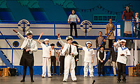 """Captain"" Carter Laliberte along with his crew wave bon voyage as the S. S. American leaves New York for London during dress rehearsal for Anything Goes with Gilford Middle School on Monday afternoon.   (Karen Bobotas/for the Laconia Daily Sun)"