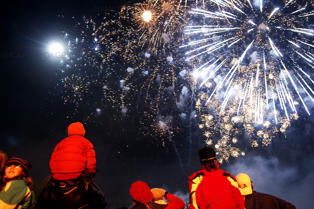 Edinburgh kicked off its Hogmanay celebrations with thousands of people joining in a torchlit procession creating a river of fire through the city centre, Edinburgh, Scotland, UK - 29th December 2008. The revellers gathered for the event finale for the burning of a huge rampant lion on top of Calton Hill and a fireworks display...Picture Richard Scott/Maverick