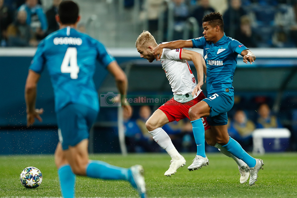 November 4, 2019, Saint Petersburg, USA: SAINT PETERSBURG, RUSSIA - NOVEMBER 05: forward Emil Forsberg of RB Leipzig and midfielder Wilmar Barrios of FC Zenit vie for the ball during UEFA Champions League match FC Leipzig at FC Zenit on November 05, 2019, at Saint Petersburg Stadium in Saint Petersburg, Russia. (Photo by Anatoliy Medved/Icon Sportswire) (Credit Image: © Anatoliy Medved/Icon SMI via ZUMA Press)