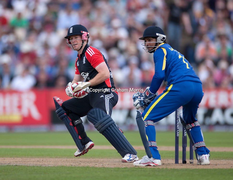 Eoin Morgan bats during the fifth and final one day international between England and Sri Lanka at Old Trafford, Manchester. Photo: Graham Morris (Tel: +44(0)20 8969 4192 Email: sales@cricketpix.com) 06/07/11
