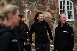 Lisa Klein (GER) laughs with her CANYON//SRAM Racing teammates at Ladies Tour of Norway Team Presentation 2018, in Halden, Norway on August 15, 2018. Photo by Sean Robinson/velofocus.com