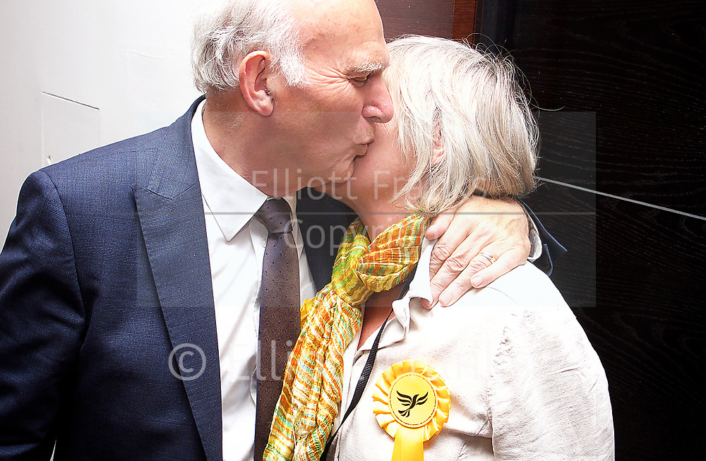 General Election count for the Twickenham &amp; Richmond Park constituencies at the Twickenham Rugby Stadium, Twickenham, Middlesex, Great Britain <br /> 8th June 2017 <br /> <br /> Vince Cable &amp; wife Rachel <br /> wins Twickenham seat <br /> <br /> <br /> <br /> Photograph by Elliott Franks <br /> Image licensed to Elliott Franks Photography Services