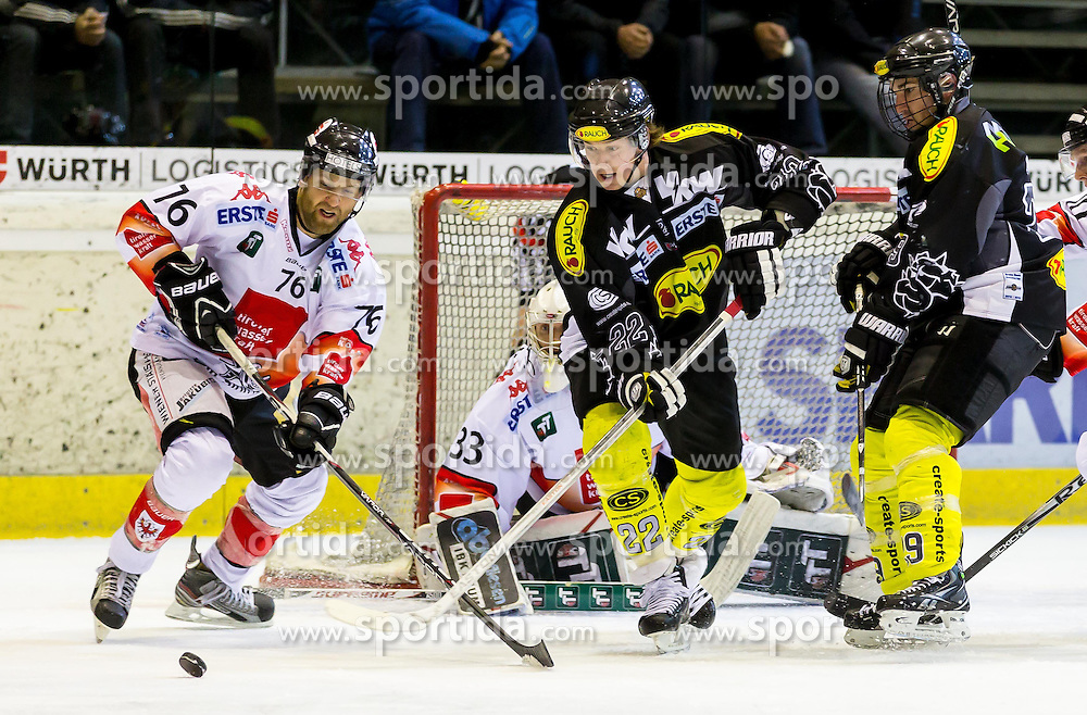 27.01.2013, Messestadion, Dornbirn, AUT, EBEL, Dornbirner EC vs HC TWK Innsbruck, Qualifikationsrunde, im Bild Aron Fox, (HC TWK Innsbruck, #76) und Matthew Keith, (Dornbirner EC, #22)// during the Erste Bank Icehockey League qualification round match between Dornbirner EC and HC TWK Innsbruck the Exhibition Stadium, Dornbirn, Austria on 2013/01/27, EXPA Pictures © 2013, PhotoCredit: EXPA/ Peter Rinderer