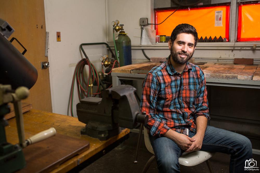 San Jose State University Department of Design student Steven Montalvo poses for a portrait at San Jose State University's Art Building in San Jose, California, on May 13, 2016. (Stan Olszewski/SOSKIphoto)
