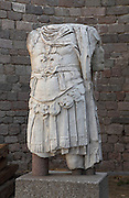 Roman statue of the armoured torso of Emperor Hadrian, 117-138 AD, from the acropolis of Pergamon, modern-day Bergama, Izmir, Turkey. Pergamon had been in decline when Hadrian declared it a metropolis and embarked on building programs including temples, a stadium, a theatre, the forum and an amphitheatre. He was also worshipped at the Trajaneum and a monumental statue of Hadrian was found here. Picture by Manuel Cohen