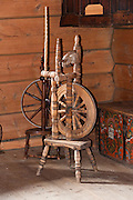 Old spinning wheels for sheep wool. The Hardanger Folk Museum was founded in 1911 in Utne, Norway.