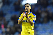 Kwesi Appiah (9) of AFC Wimbledon applauds the travelling fans at full time after a 2-1 loss to Portsmouth during the EFL Sky Bet League 1 match between Portsmouth and AFC Wimbledon at Fratton Park, Portsmouth, England on 1 January 2019.