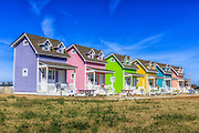 Colorful cottages at Hatteras Village on the Outer Banks of NC.
