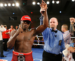 July 27, 2007; Saratoga Springs, NY, USA; Andre Berto celebrates after his fight against Cosme Rivera during their 10 round bout at the Saratoga Springs City Center.  Berto won via 10 round unanimous decision.
