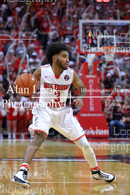 14 January 2017:  Keyshawn Evans(3) during an NCAA  MVC (Missouri Valley conference) mens basketball game between the Wichita State Shockers the Illinois State Redbirds in  Redbird Arena, Normal IL