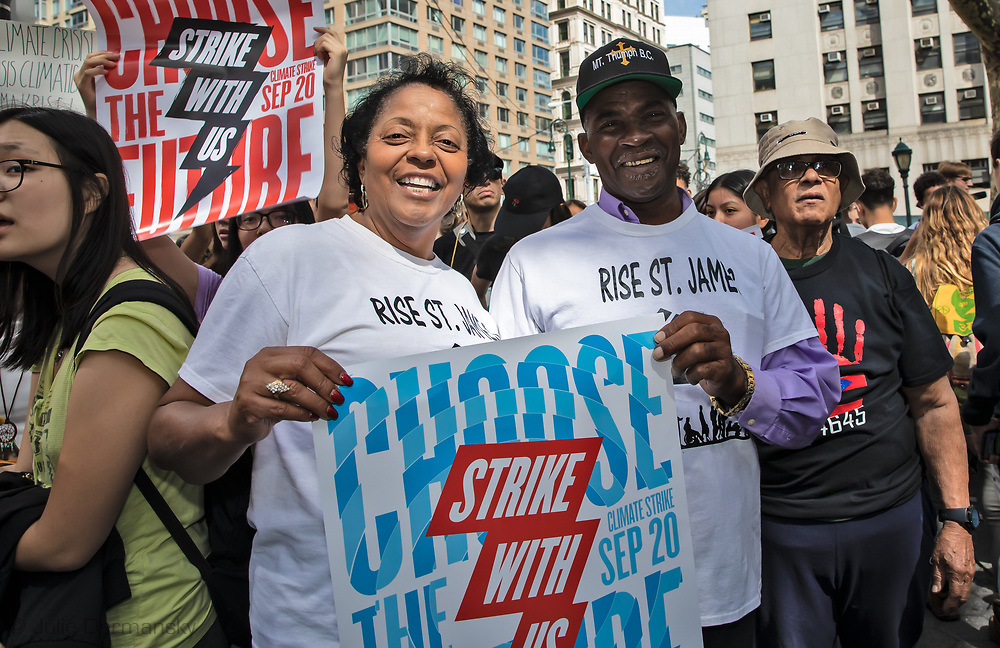 Sharon Lavigne and Pastor Harry Joseph from Louisiana at Foley Square in NYC before the Climate Strike March on Sept. 20, 2019