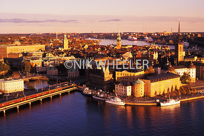 Aerial view of downtown Stockholm, Sweden