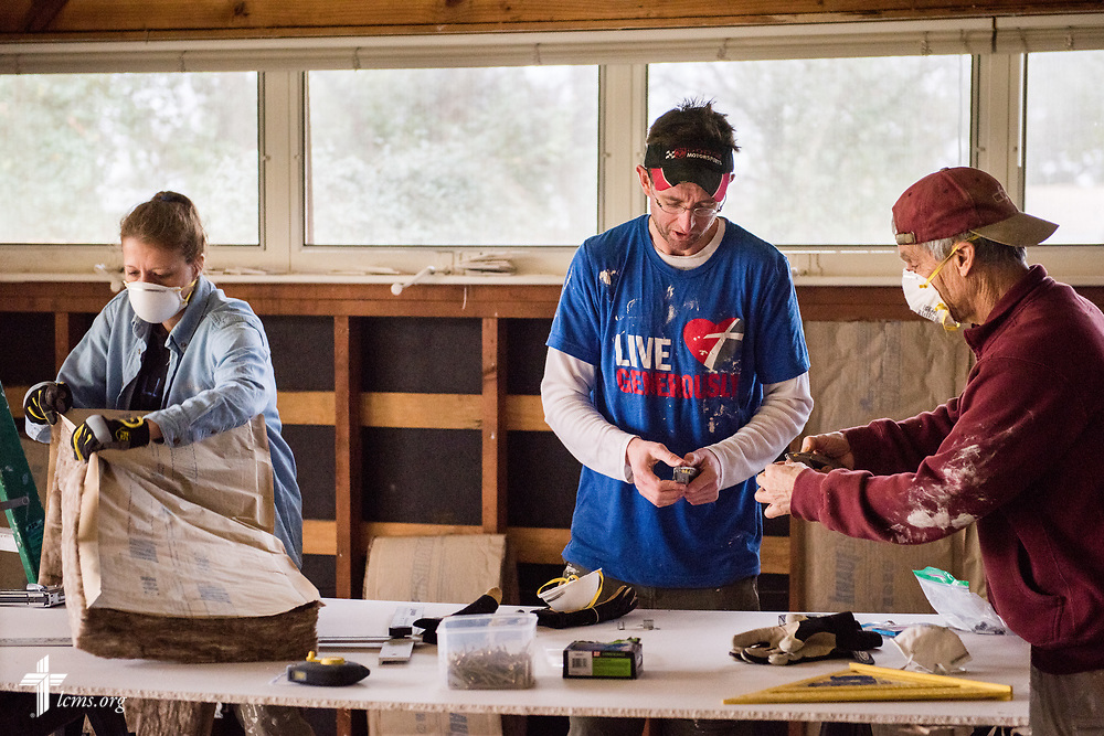 Volunteers from Saint Paul Lutheran Church, Mount Prospect, Ill., including Denise and George Perdziak, and Jeff Husar, help rebuild a home damaged by Hurricane Harvey on Wednesday, Feb. 7, 2018, in Port Arthur, Texas.  LCMS Communications/Erik M. Lunsford