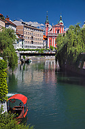 Ljubljanica River and Franciscan Church, Ljubljana; Slovenia