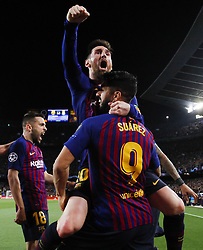 May 1, 2019 - Barcelona, Catalonia, Spain - LIONEL MESSI of FC Barcelona celebrates scoring 2-0 during the Uefa Champions League FC Barcelona v Liverpool FC. Messi scored his 600th career goal during Barcelona's 3-0 win against Liverpool in the Champions League.  (Credit Image: © Marc Dominguez/ZUMA Wire)