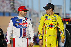 March 2, 2018 - Las Vegas, Nevada, United States of America - March 02, 2018 - Las Vegas, Nevada, USA: Paul Menard (21) and Ryan Blaney (12) hang out on pit road before qualifying for the Pennzoil 400 at Las Vegas Motor Speedway in Las Vegas, Nevada. (Credit Image: © Chris Owens Asp Inc/ASP via ZUMA Wire)