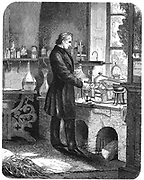 Justus von Liebig (1803-1873) German chemist, at work in his laboratory. Engraving from 'The Popular Educator', Cassell, Petter and Galpin, London  (c1885)