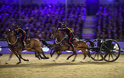 © Licensed to London News Pictures. 15/05/2016. Windsor, UK. The Household Cavalry and Kings Troop. An evening event held at the Royal Windsor Horse show to celebrate the 90th birthday of HRH Queen Elizabeth II. Acts from arounds the world have been invited to perform at the evening event, set in the grounds of Windsor Castle. Photo credit: Ben Cawthra/LNP