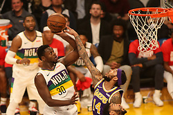 February 27, 2019 - Los Angeles, CA, U.S. - LOS ANGELES, CA - FEBRUARY 27: New Orleans Pelicans Center Julius Randle (30) shot is contested by Los Angeles Lakers Guard Brandon Ingram (14) during the first half of the New Orleans Pelicans versus Los Angeles Lakers game on February 27, 2019, at Staples Center in Los Angeles, CA. (Photo by Icon Sportswire) (Credit Image: © Icon Sportswire/Icon SMI via ZUMA Press)