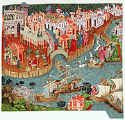 Marco Polo (1254-1324) setting out with his uncles from Venice for Far East. In foreground are lands they will visit and strange things they will see. After late 14th century manuscript.