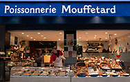 A large display of fish at a fish monger on Rue Mouffetard, Paris, France, Europe