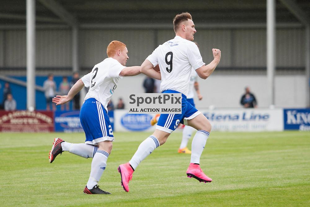 Rory McAllister celebrates opening the scoring in the Stranraer v Peterhead Ladbrokes SPFL Scottish Division 1 at Stair Park in Stranraer 15 August 2015<br /><br />&copy; Russell Gray Sneddon / StockPix.eu