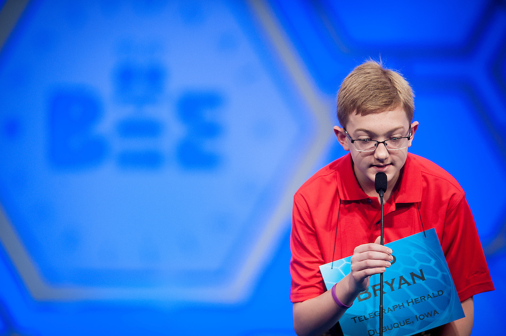 Bryan Keck, 13, of Dubuque, Iowa, participates in round two of the preliminaries of the 2015 Scripps National Spelling Bee on May 27, 2015 at the Gaylord National Resort and Convention Center in National Harbor, Maryland.