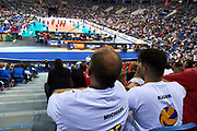 Poland, Krakow - 2017 September 03: Special Olympics Athletes on the tribune supports while final match between Germany and Russia during Lotto Eurovolleyball Poland 2017 - European Championships in volleyball at Tauron Arena on September 03, 2017 in Krakow, Poland.<br /> <br /> Mandatory credit:<br /> Photo by &copy; Adam Nurkiewicz<br /> <br /> Adam Nurkiewicz declares that he has no rights to the image of people at the photographs of his authorship.<br /> <br /> Picture also available in RAW (NEF) or TIFF format on special request.<br /> <br /> Any editorial, commercial or promotional use requires written permission from the author of image.