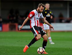 James Dayton of Cheltenham Town takes a shot at goal - Mandatory by-line: Nizaam Jones/JMP - 05/11/2016 - FOOTBALL - LCI Rail Stadium - Cheltenham, England - Cheltenham Town v Crewe Alexandra - Emirates FA Cup first round