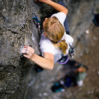 Nancy McCullough climbing Merciless Onslaught, 5.12b, American Fork Canyon, Utah