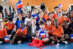 June 16, 2018 - Paris, Ile-de-France, France - The Mayor of Paris (not in picture) will be present on June 16, 2018, alongside 700 young Parisians gathered Saturday at the gymnasium Léo Lagrange (12th) to attend the broadcast of the first match of the French Team for the Football World Cup in Russia. (Credit Image: © Julien Mattia/NurPhoto via ZUMA Press)