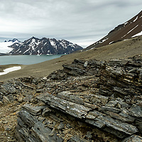 View of Fortuna Bay from one of the shale covered scree ridges along the Shackleton Hike which leads to Stromness on South Georgia Island.