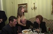 Dale Winton, Tara Palmer-Tompkinson, Hugo Speer and Cilla Black. Nicky Haslam celebrated his birthday by throwing a party for Jerry Hall. dorchester Club. 1 October 2000. © Copyright Photograph by Dafydd Jones 66 Stockwell Park Rd. London SW9 0DA Tel 020 7733 0108 www.dafjones.com