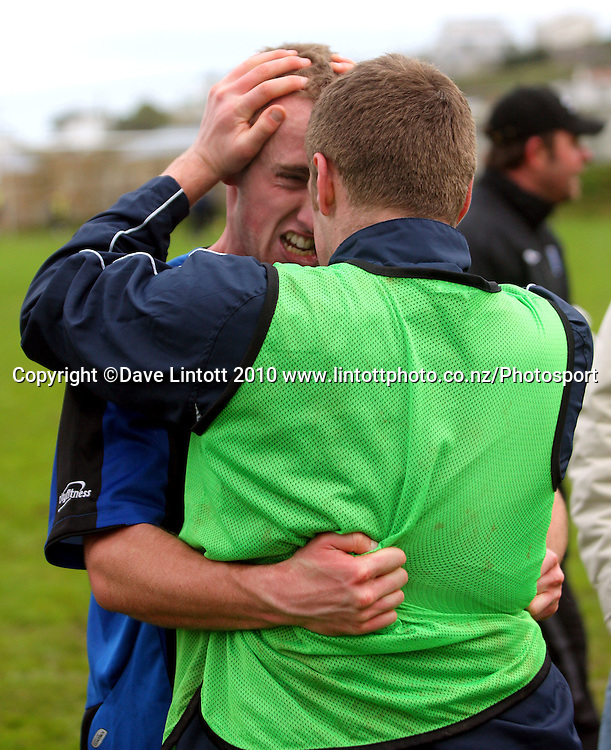 Goalscorer Michael Eagar celebrates with John Sutherland after the 2-1 win. Chatham Cup football - Miramar Rangers v East Coast Bays at David Farrington Park, Wellington on Sunday, 15 August 2010. Photo: Dave Lintott/Photosport