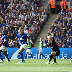 Leicester City's Goalkeeper Kasper Schmeichel sees the ball go past him for a Manchester United goal during the Barclays Premiership match between Leicester City FC and Manchester United FC, at the King Power Stadium, Leicester, 21st September 2014 © Phil Duncan | SportPix.org.uk