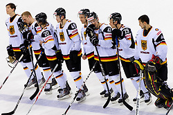 Players of Germany after the ice-hockey match between Denmark and Germany of Group E in Qualifying Round of IIHF 2011 World Championship Slovakia, on May 7, 2011 in Orange Arena, Bratislava, Slovakia. Denmark defeated Germany 4-3 after overtime and shootout. (Photo By Vid Ponikvar / Sportida.com)