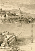 Divers building a breakwater. Engraving c1890.