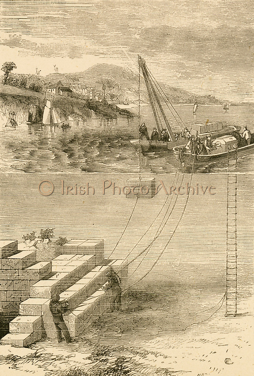 Divers building a breakwater. Engraving c1890.